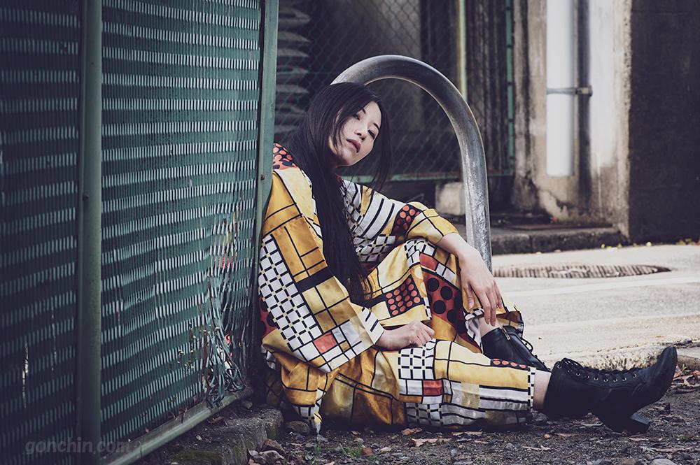 元ヤン風の着物ポートレート